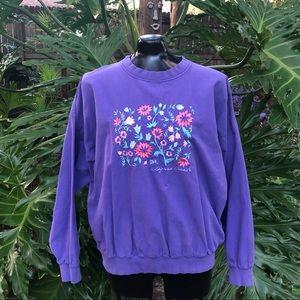Vintage Laguna Beach Embroidered Floral Sweatshirt
